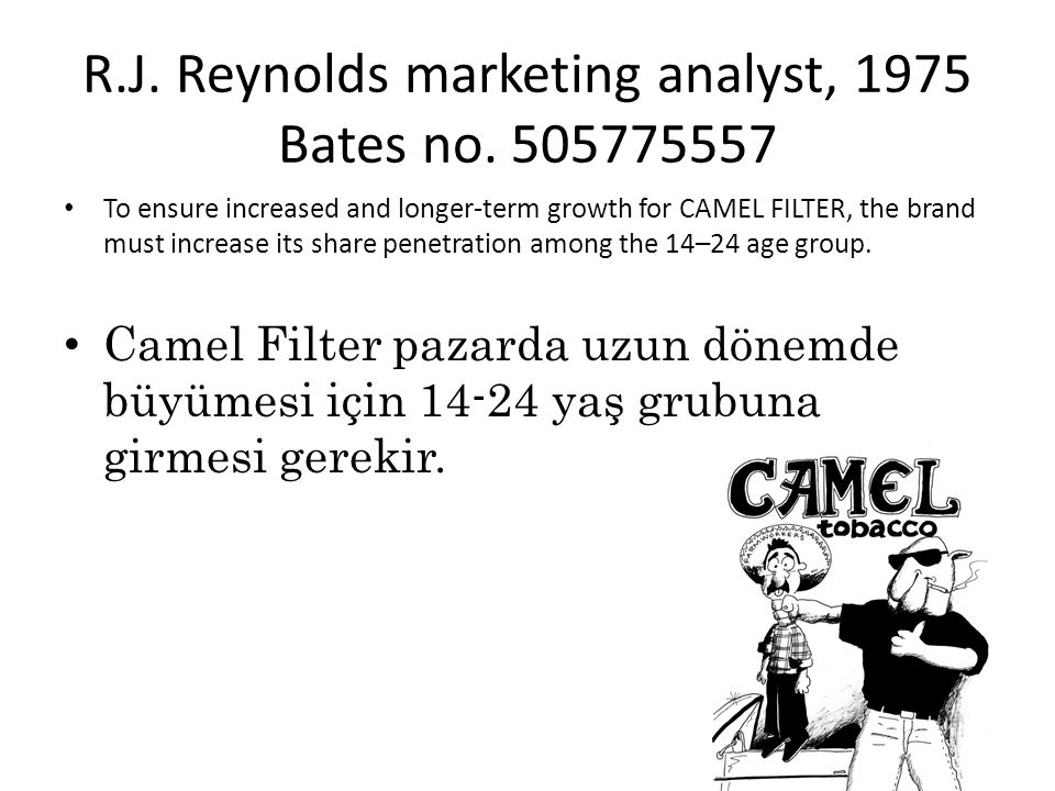 R.J. Reynolds marketing analyst, 1975 Bates no. 505775557