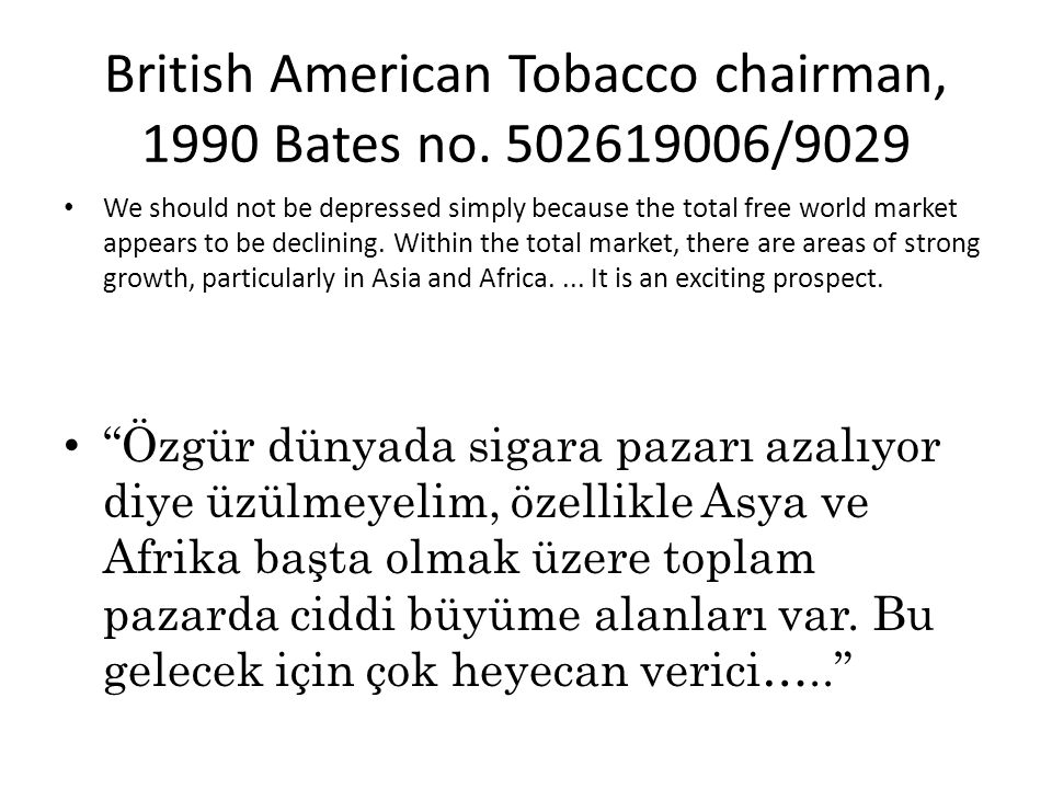 British American Tobacco chairman, 1990 Bates no. 502619006/9029