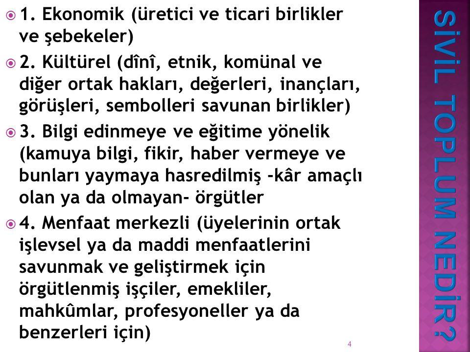 1. Ekonomik (üretici ve ticari birlikler ve şebekeler)