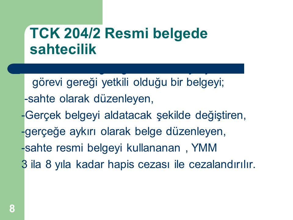 TCK 204/2 Resmi belgede sahtecilik