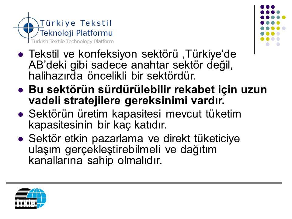 Tekstil ve konfeksiyon sektörü ,Türkiye'de AB'deki gibi sadece anahtar sektör değil, halihazırda öncelikli bir sektördür.