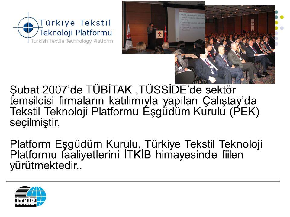 Şubat 2007'de TÜBİTAK ,TÜSSİDE'de sektör temsilcisi firmaların katılımıyla yapılan Çalıştay'da Tekstil Teknoloji Platformu Eşgüdüm Kurulu (PEK) seçilmiştir,