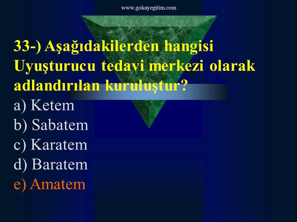 www.gokayegitim.com 33-) Aşağıdakilerden hangisi Uyuşturucu tedavi merkezi olarak adlandırılan kuruluştur