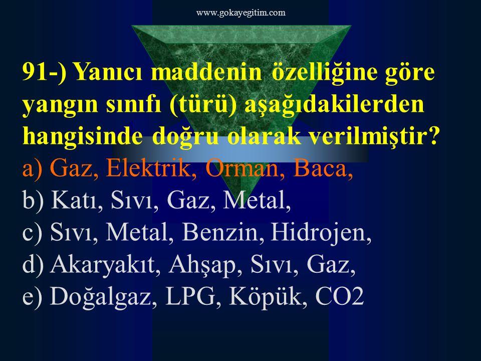 a) Gaz, Elektrik, Orman, Baca, b) Katı, Sıvı, Gaz, Metal,