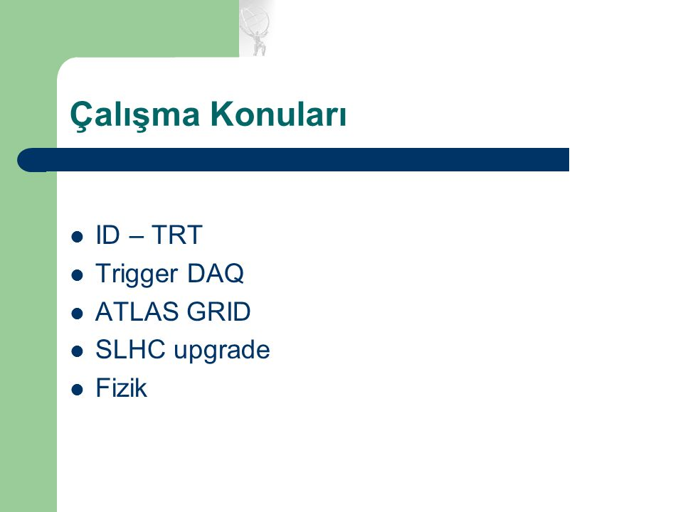 Çalışma Konuları ID – TRT Trigger DAQ ATLAS GRID SLHC upgrade Fizik