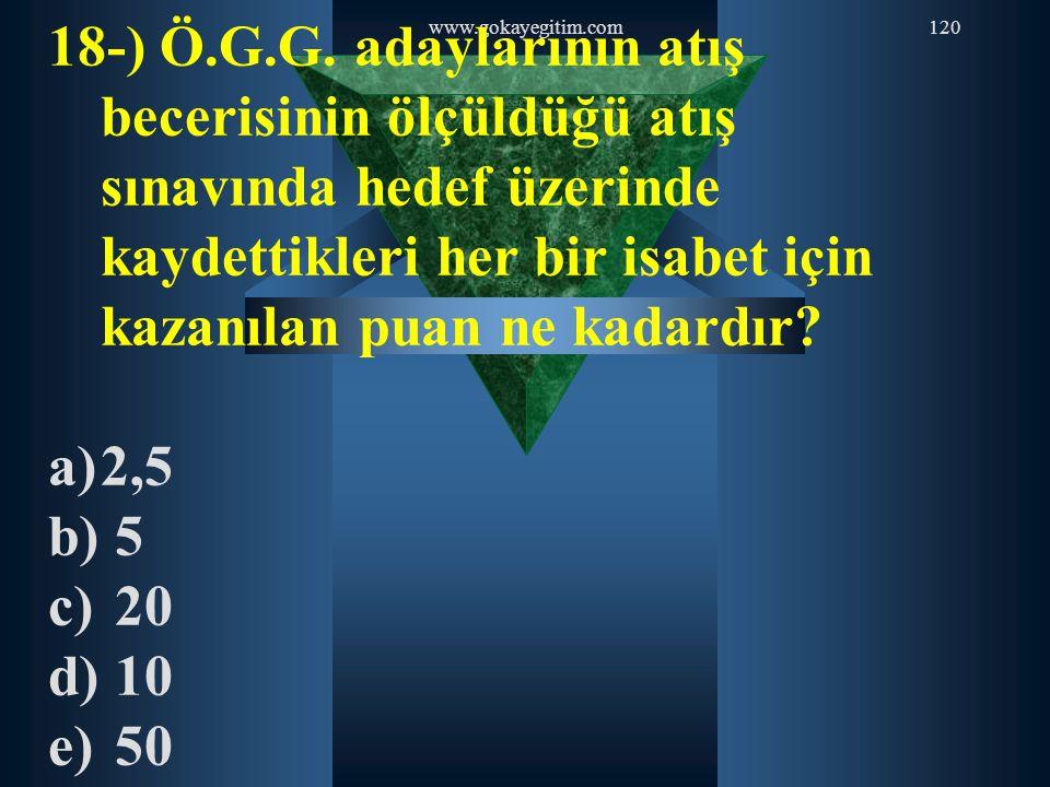 18-) Ö.G.G. adaylarının atış becerisinin ölçüldüğü atış sınavında hedef üzerinde kaydettikleri her bir isabet için kazanılan puan ne kadardır