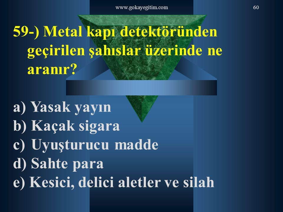 59-) Metal kapı detektöründen geçirilen şahıslar üzerinde ne aranır