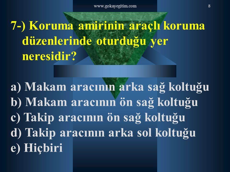 7-) Koruma amirinin araçlı koruma düzenlerinde oturduğu yer neresidir