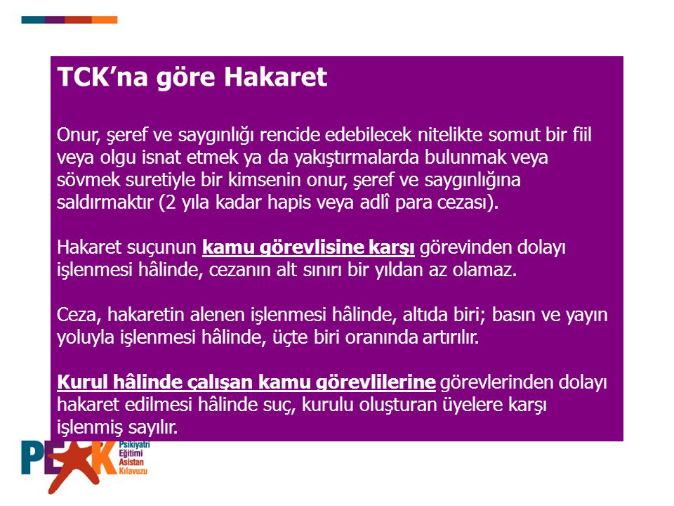 TCK'na göre Hakaret