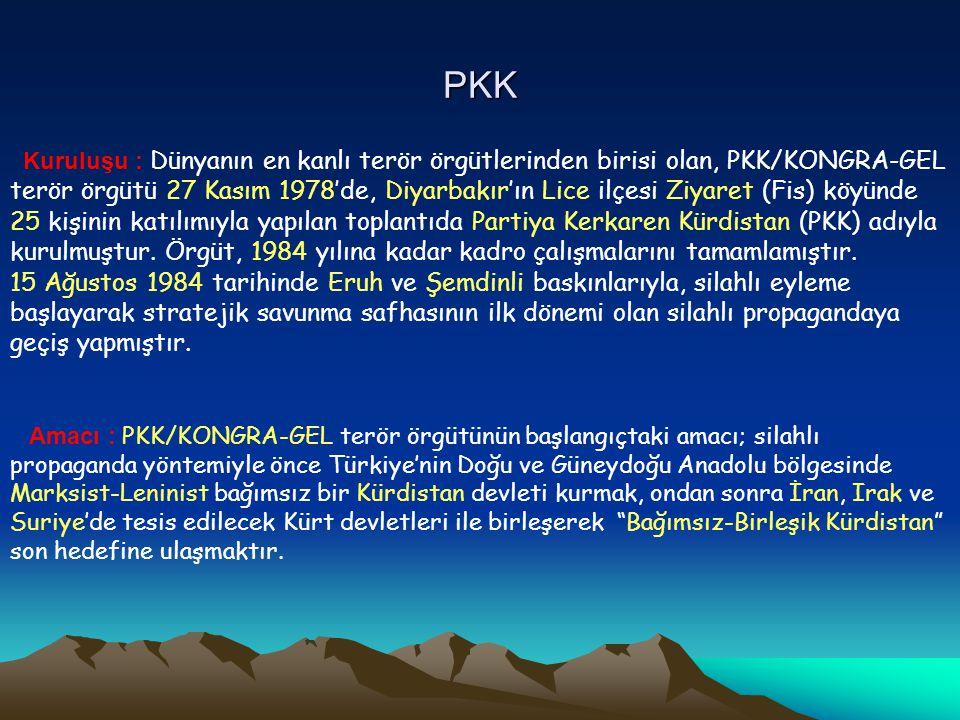 PKK Kuruluşu : Dünyanın en kanlı terör örgütlerinden birisi olan, PKK/KONGRA-GEL.