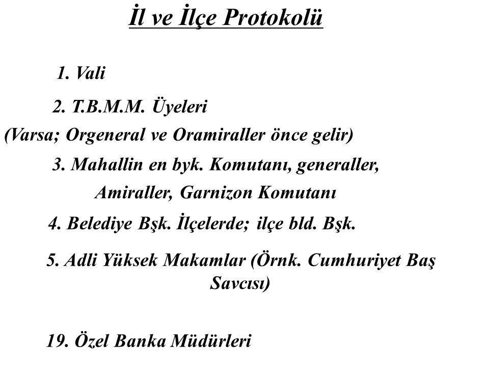 İl ve İlçe Protokolü 1. Vali