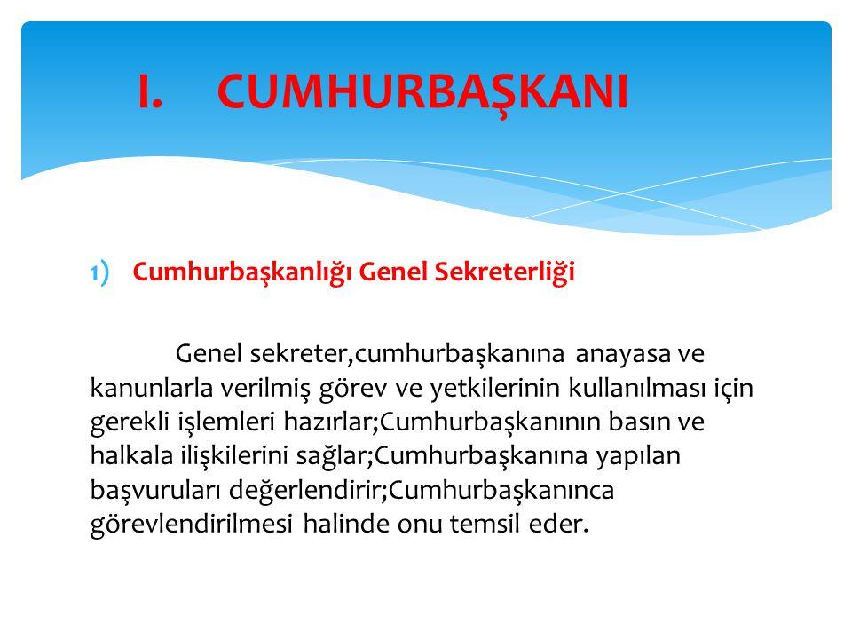 CUMHURBAŞKANI Cumhurbaşkanlığı Genel Sekreterliği