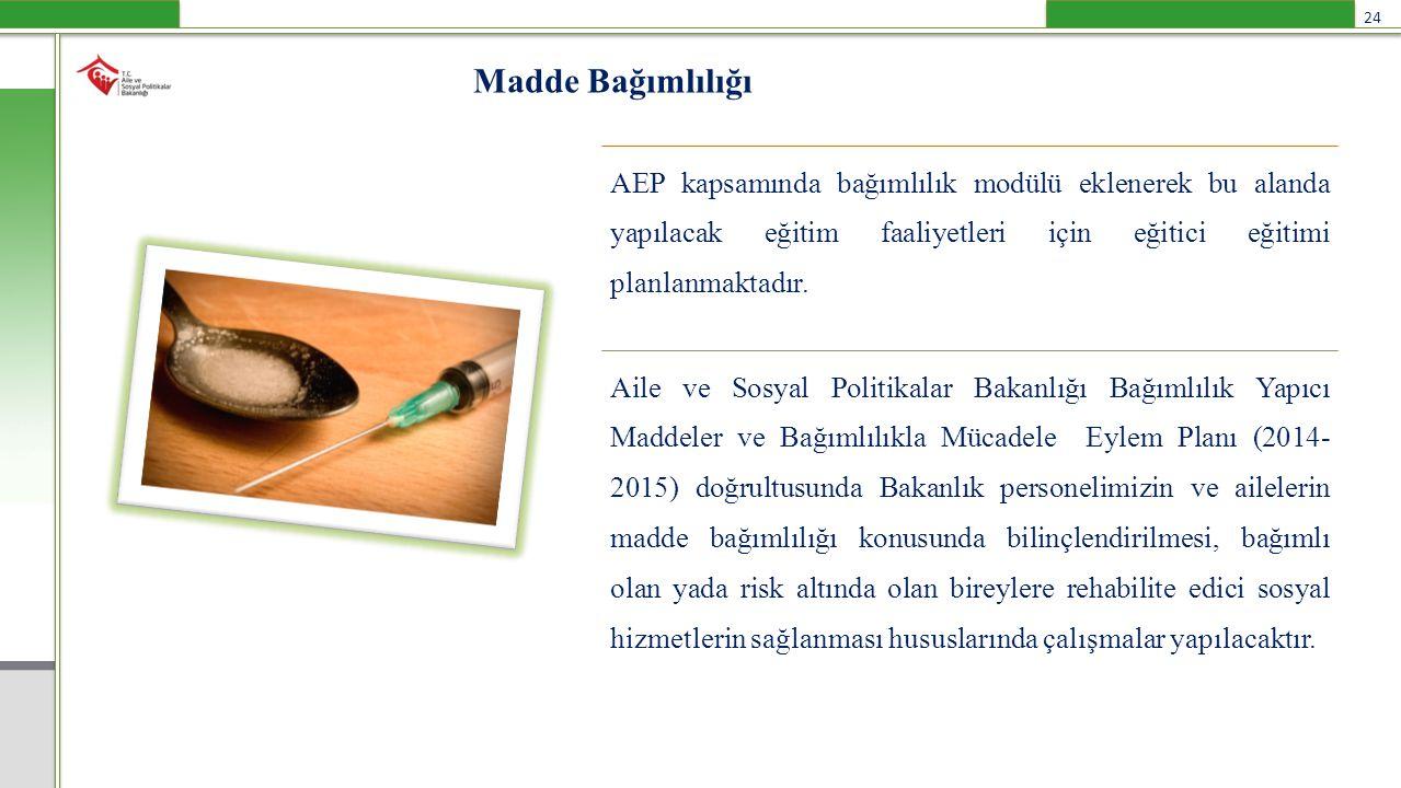 Madde Bağımlılığı AEP kapsamında bağımlılık modülü eklenerek bu alanda yapılacak eğitim faaliyetleri için eğitici eğitimi planlanmaktadır.