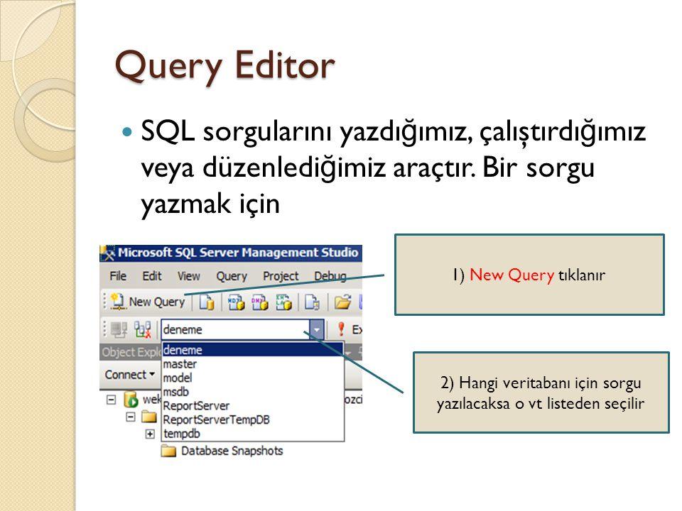 2) Hangi veritabanı için sorgu yazılacaksa o vt listeden seçilir
