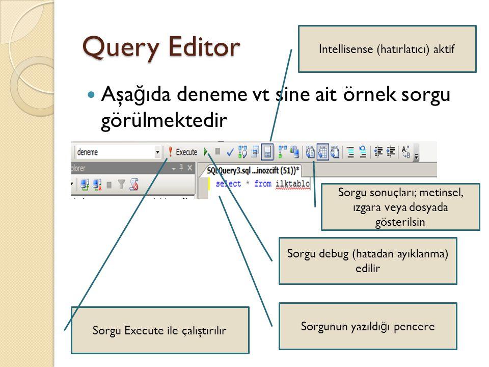 Query Editor Aşağıda deneme vt sine ait örnek sorgu görülmektedir