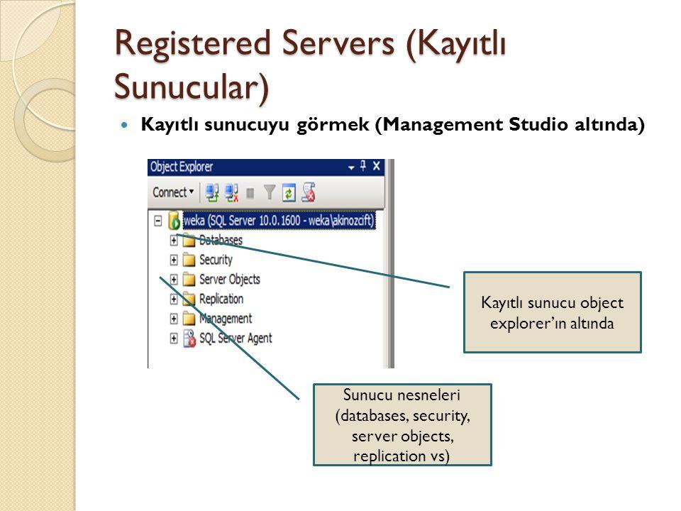 Registered Servers (Kayıtlı Sunucular)