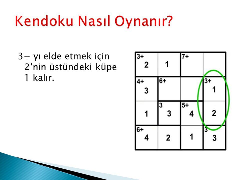 Kendoku Nasıl Oynanır 3+ yı elde etmek için 2'nin üstündeki küpe 1 kalır.