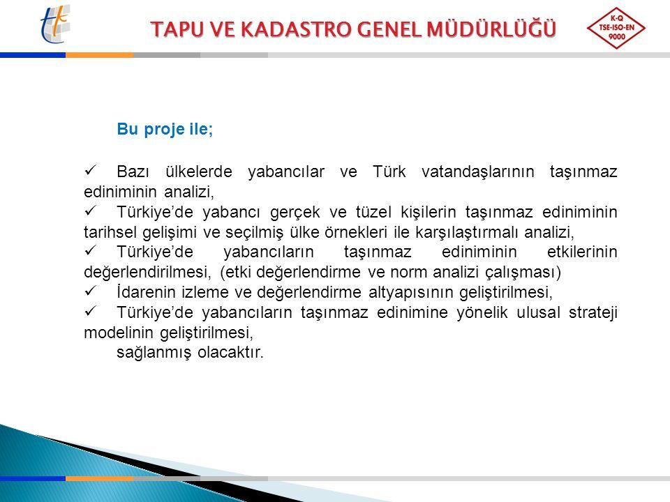 Bu proje ile; Bazı ülkelerde yabancılar ve Türk vatandaşlarının taşınmaz ediniminin analizi,