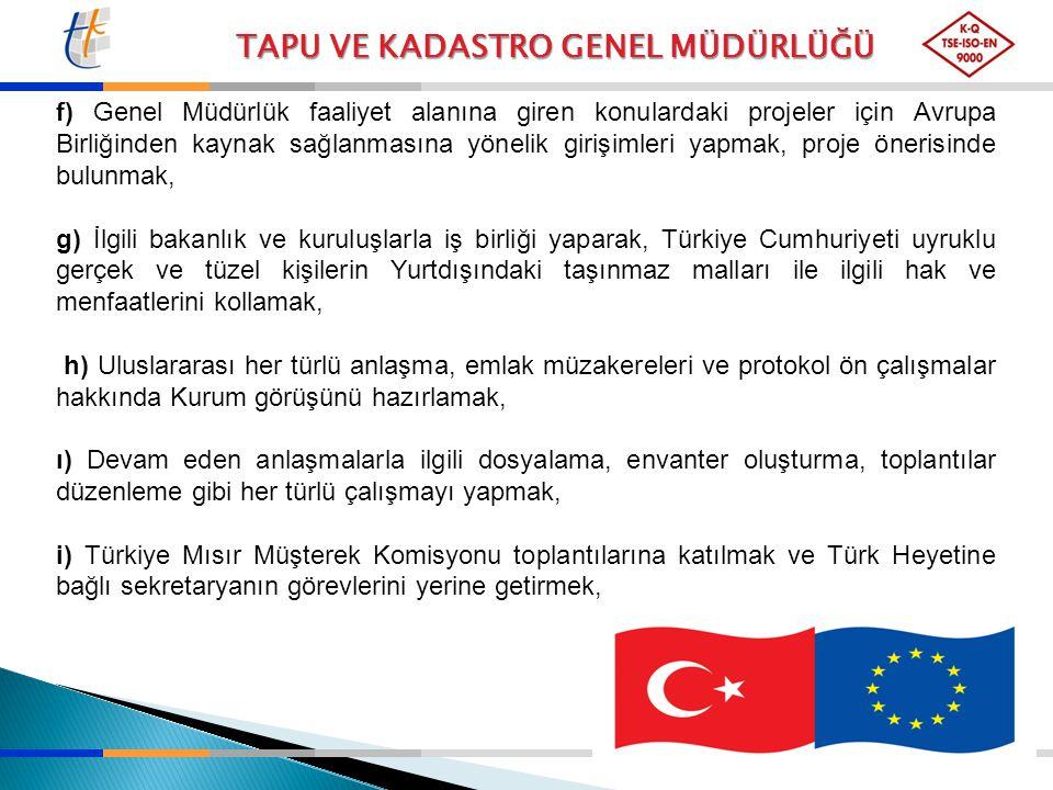 f) Genel Müdürlük faaliyet alanına giren konulardaki projeler için Avrupa Birliğinden kaynak sağlanmasına yönelik girişimleri yapmak, proje önerisinde bulunmak,