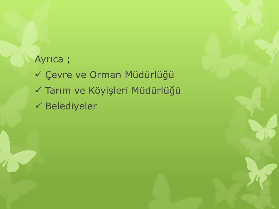 Ayrıca ; Çevre ve Orman Müdürlüğü Tarım ve Köyişleri Müdürlüğü Belediyeler