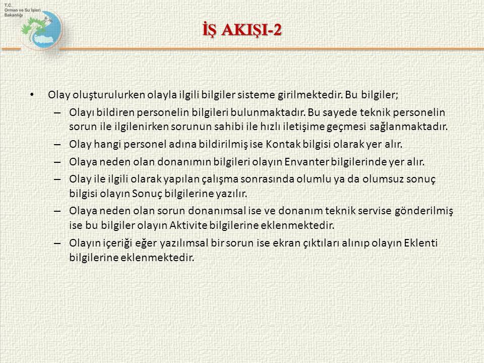 İŞ AKIŞI-2 Olay oluşturulurken olayla ilgili bilgiler sisteme girilmektedir. Bu bilgiler;