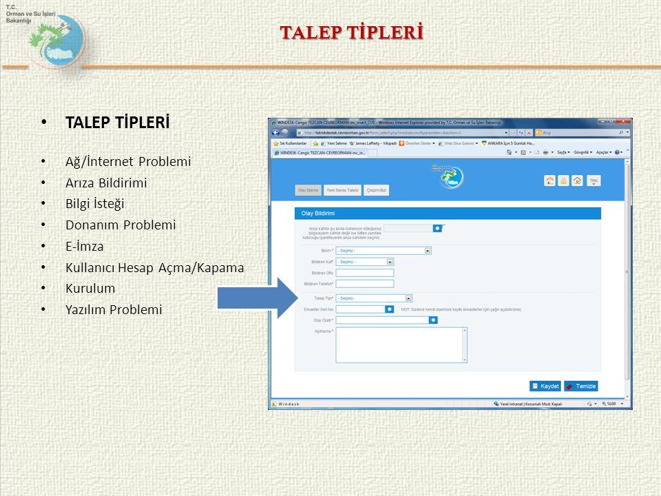TALEP TİPLERİ TALEP TİPLERİ Ağ/İnternet Problemi Arıza Bildirimi