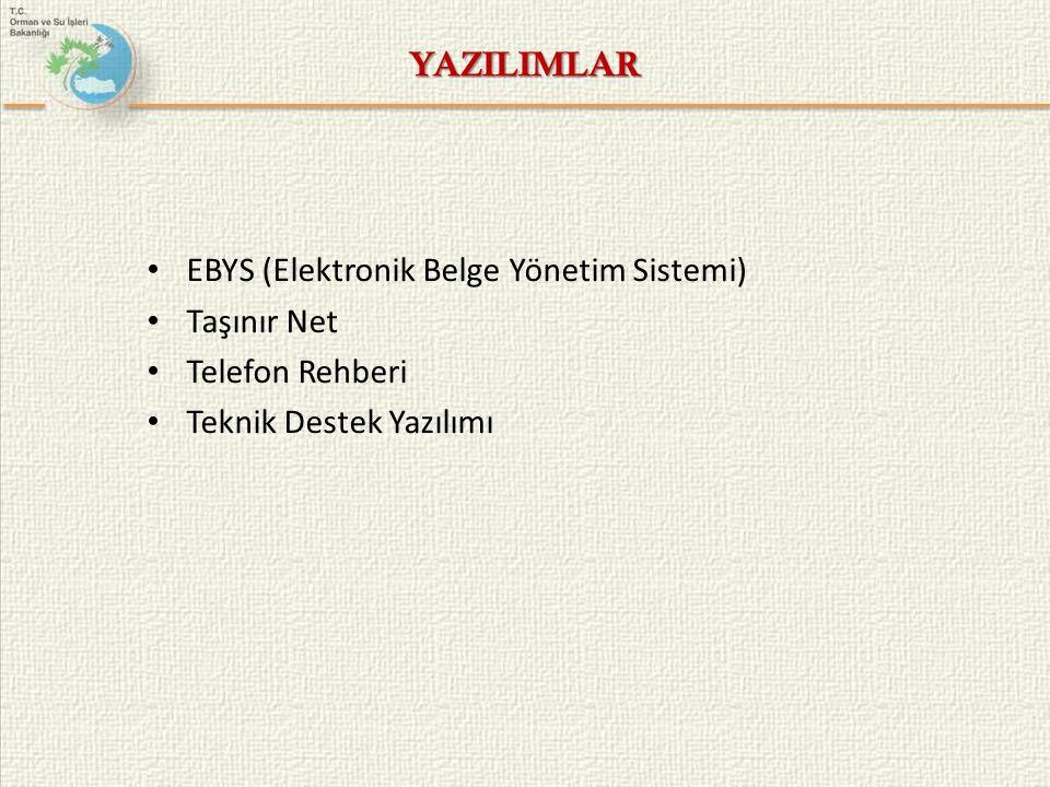 YAZILIMLAR EBYS (Elektronik Belge Yönetim Sistemi) Taşınır Net.