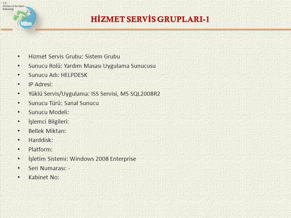 HİZMET SERVİS GRUPLARI-1