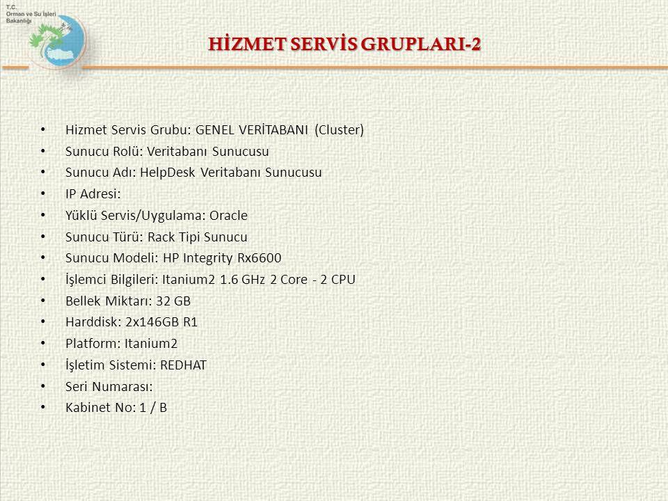 HİZMET SERVİS GRUPLARI-2