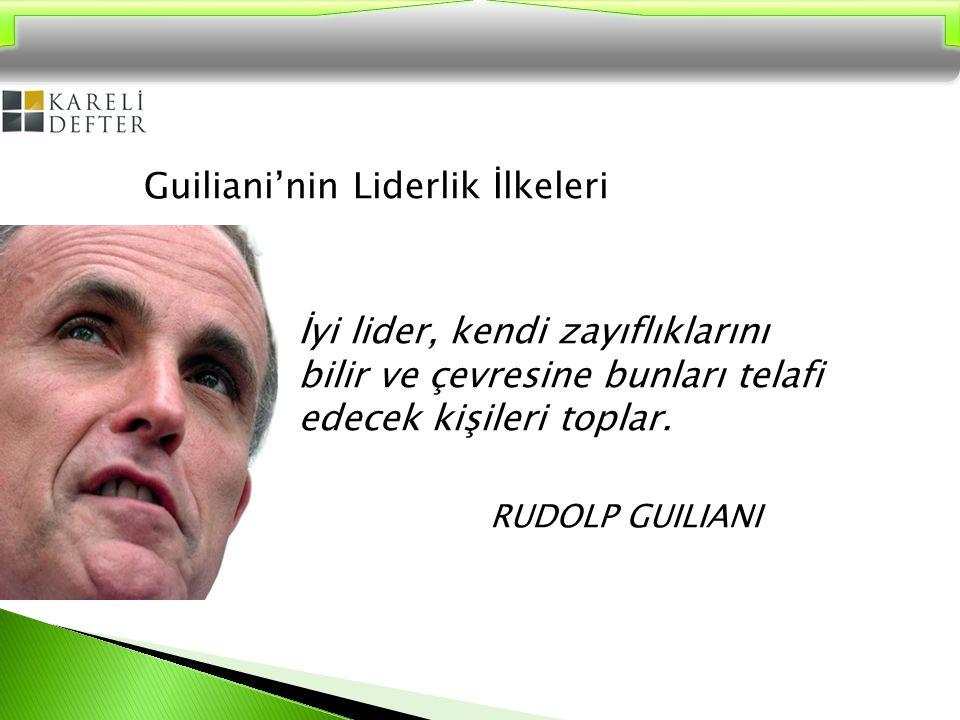 Guiliani'nin Liderlik İlkeleri İyi lider, kendi zayıflıklarını bilir ve çevresine bunları telafi edecek kişileri toplar.
