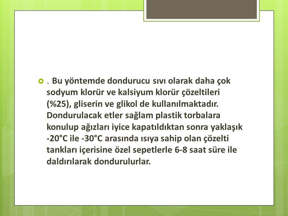 Bu yöntemde dondurucu sıvı olarak daha çok sodyum klorür ve kalsiyum klorür çözeltileri (%25), gliserin ve glikol de kullanılmaktadır.