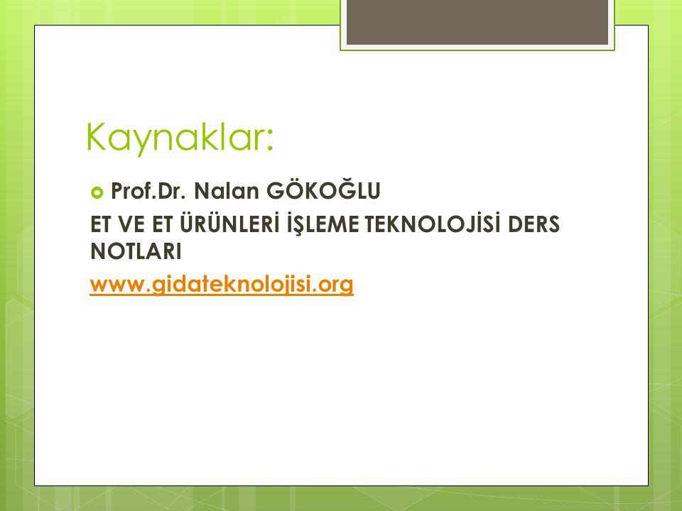 Kaynaklar: Prof.Dr. Nalan GÖKOĞLU