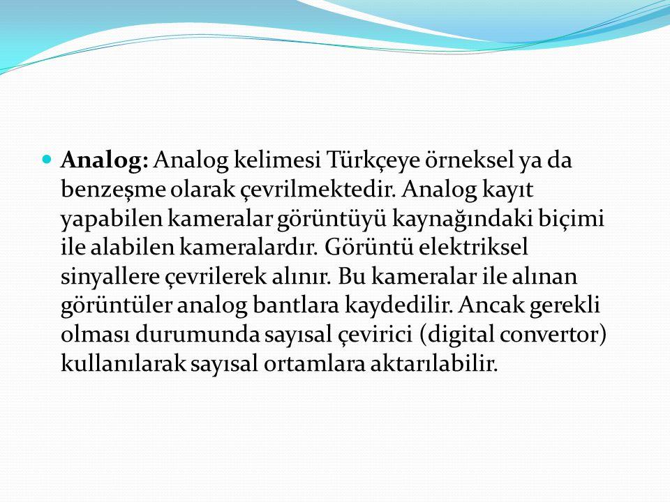 Analog: Analog kelimesi Türkçeye örneksel ya da benzeşme olarak çevrilmektedir.