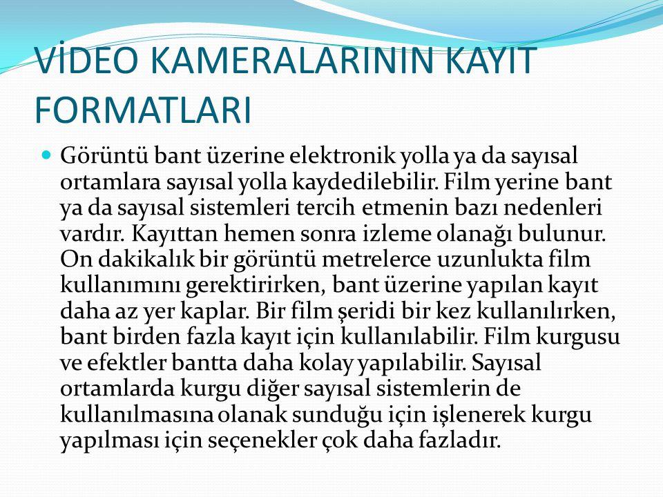 VİDEO KAMERALARININ KAYIT FORMATLARI