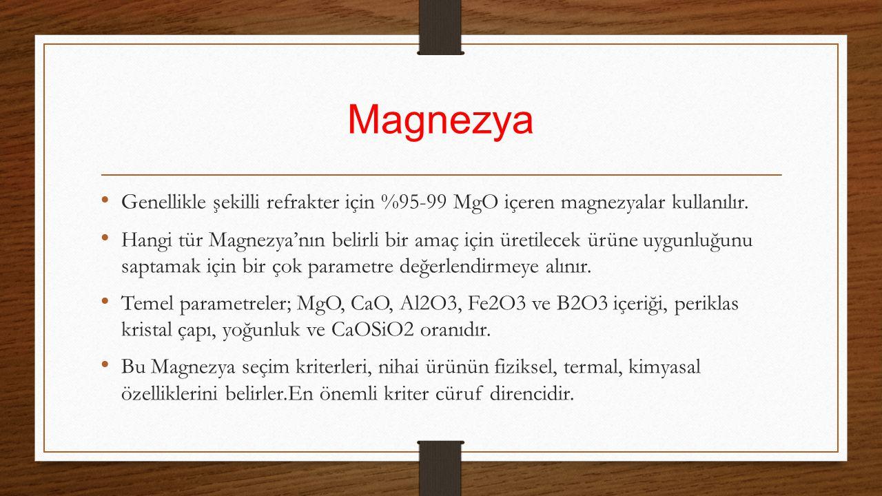 Magnezya Genellikle şekilli refrakter için %95-99 MgO içeren magnezyalar kullanılır.