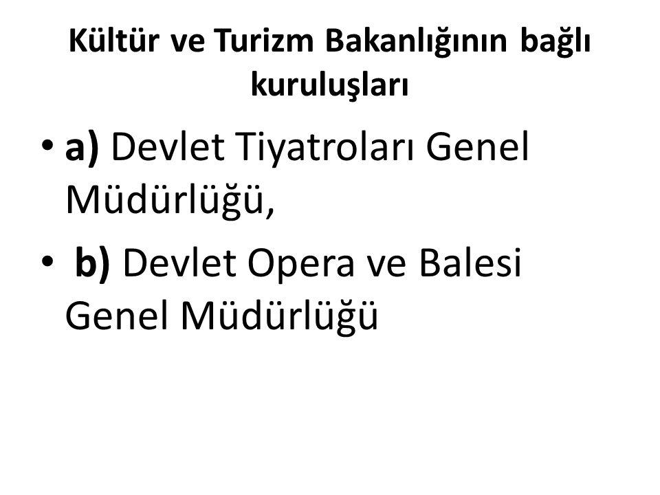 Kültür ve Turizm Bakanlığının bağlı kuruluşları