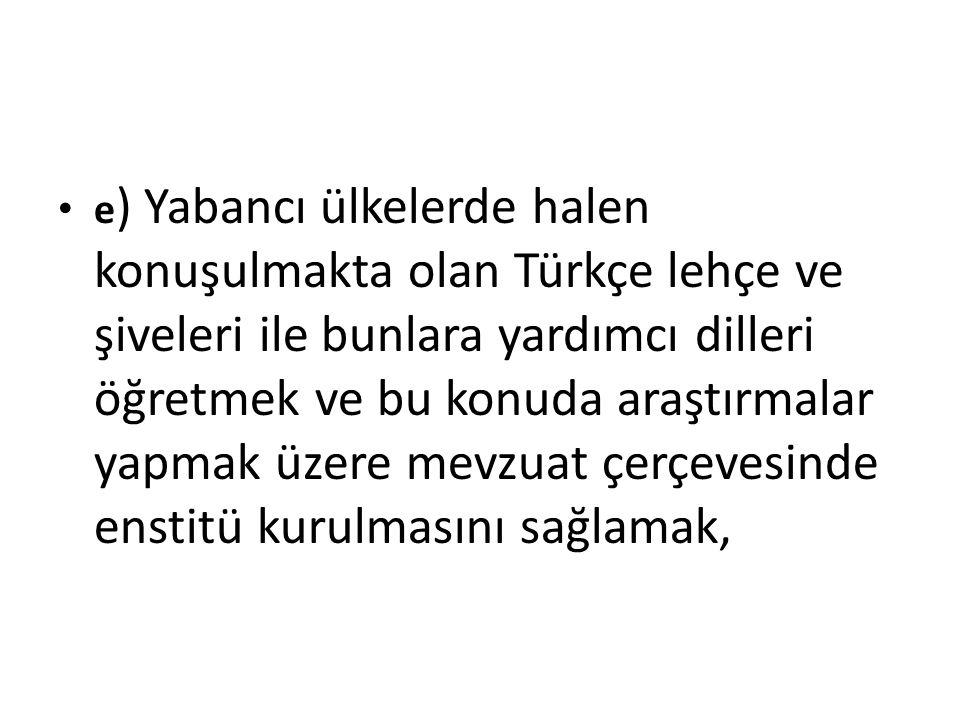 e) Yabancı ülkelerde halen konuşulmakta olan Türkçe lehçe ve şiveleri ile bunlara yardımcı dilleri öğretmek ve bu konuda araştırmalar yapmak üzere mevzuat çerçevesinde enstitü kurulmasını sağlamak,