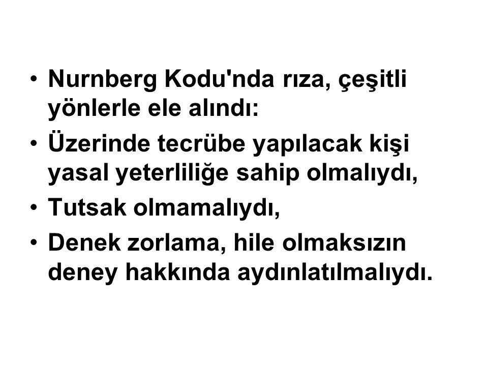 Nurnberg Kodu nda rıza, çeşitli yönlerle ele alındı: