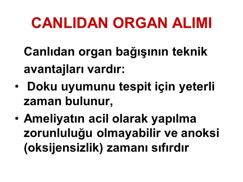 CANLIDAN ORGAN ALIMI avantajları vardır: