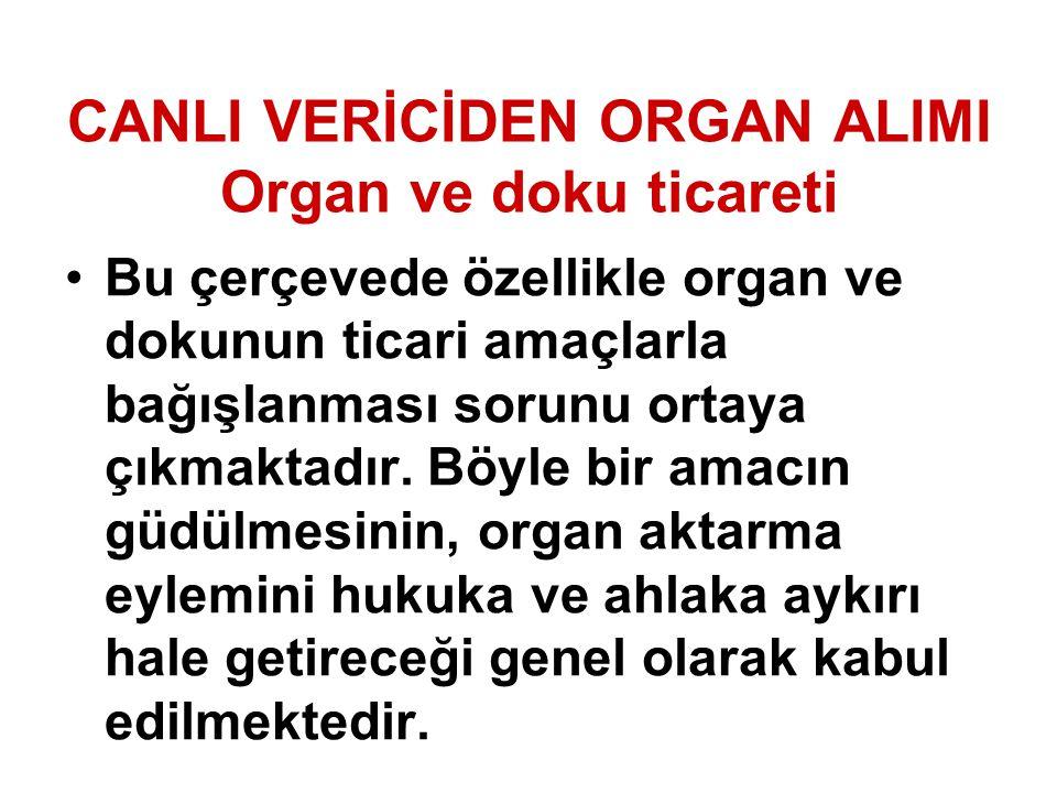 CANLI VERİCİDEN ORGAN ALIMI Organ ve doku ticareti