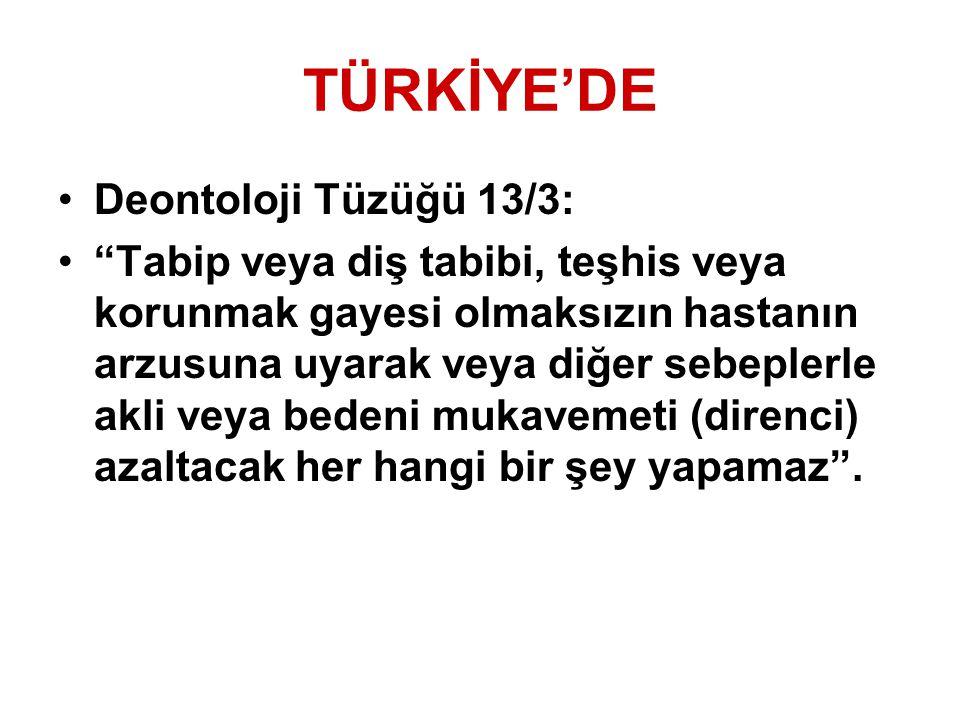 TÜRKİYE'DE Deontoloji Tüzüğü 13/3: