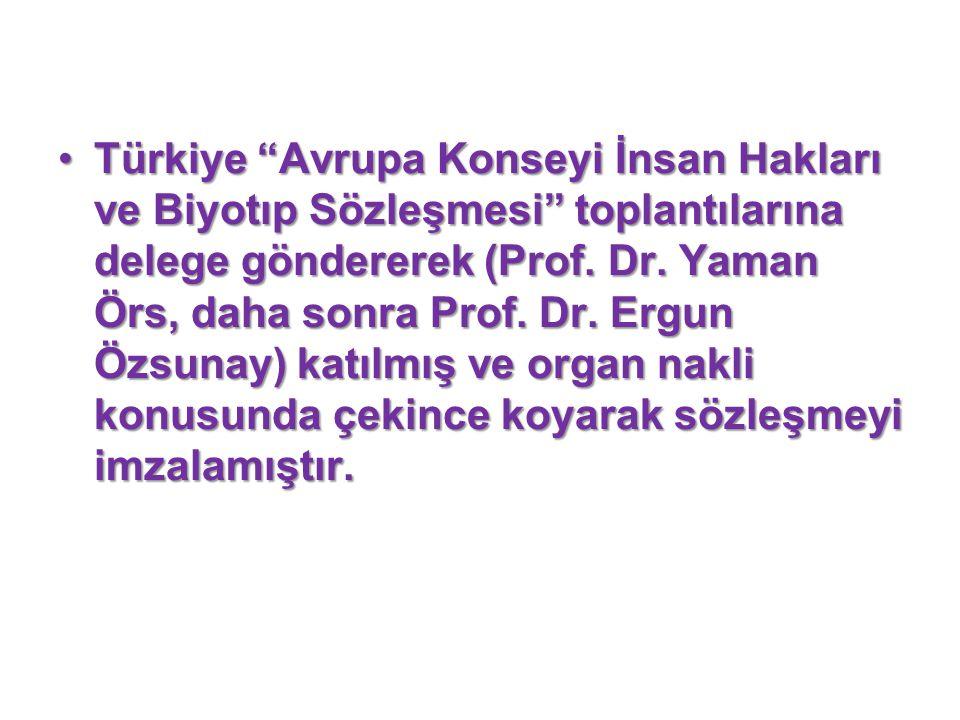 Türkiye Avrupa Konseyi İnsan Hakları ve Biyotıp Sözleşmesi toplantılarına delege göndererek (Prof.