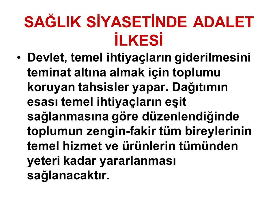 SAĞLIK SİYASETİNDE ADALET İLKESİ