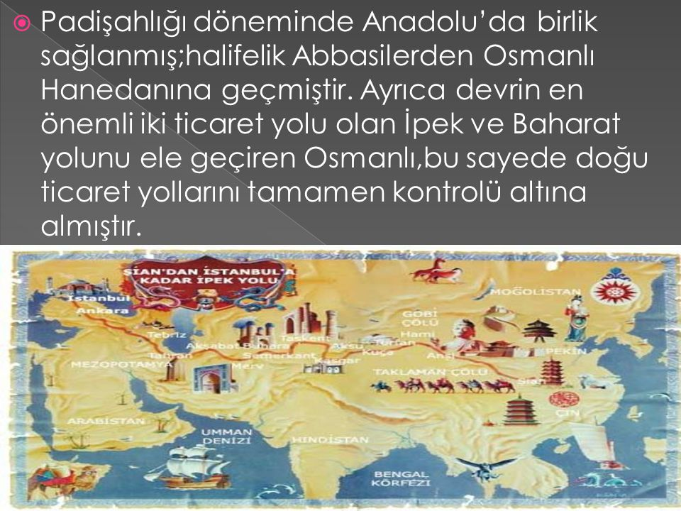 Padişahlığı döneminde Anadolu'da birlik sağlanmış;halifelik Abbasilerden Osmanlı Hanedanına geçmiştir.