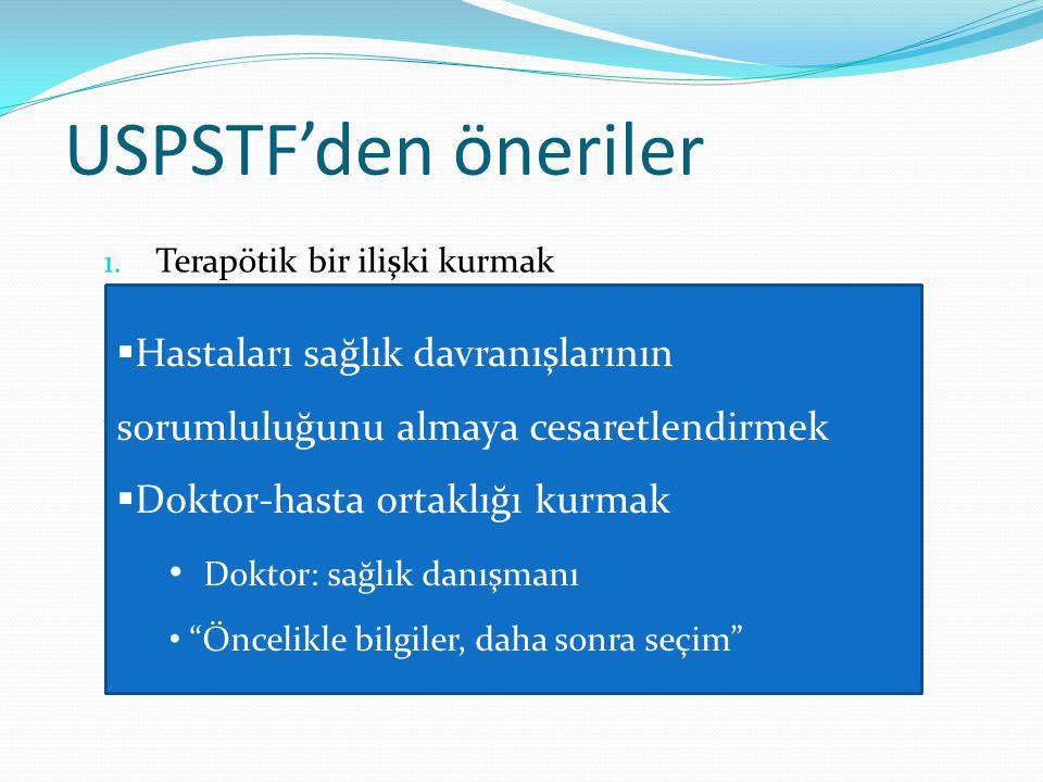 USPSTF'den öneriler Terapötik bir ilişki kurmak. Tüm hastalara danışmanlık vermek.