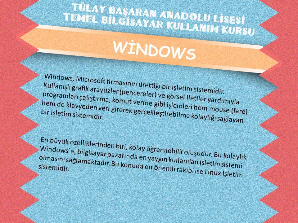 WİNDOWS Windows, Microsoft firmasının ürettiği bir işletim sistemidir.