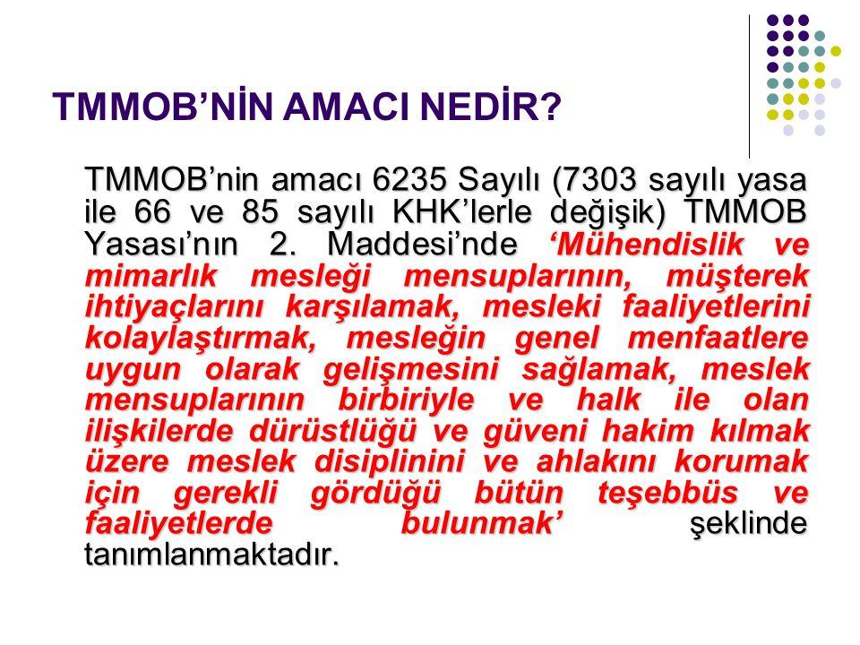 TMMOB'NİN AMACI NEDİR