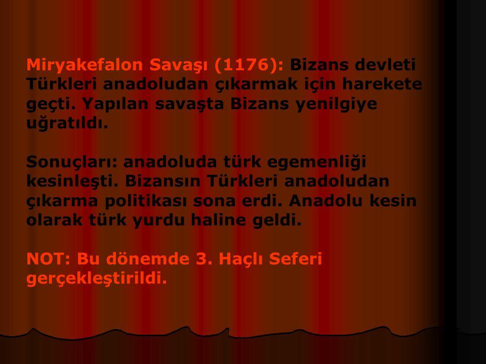 Miryakefalon Savaşı (1176): Bizans devleti Türkleri anadoludan çıkarmak için harekete geçti. Yapılan savaşta Bizans yenilgiye uğratıldı.