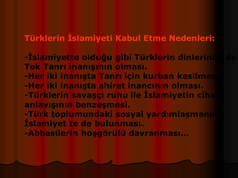 Türklerin İslamiyeti Kabul Etme Nedenleri: