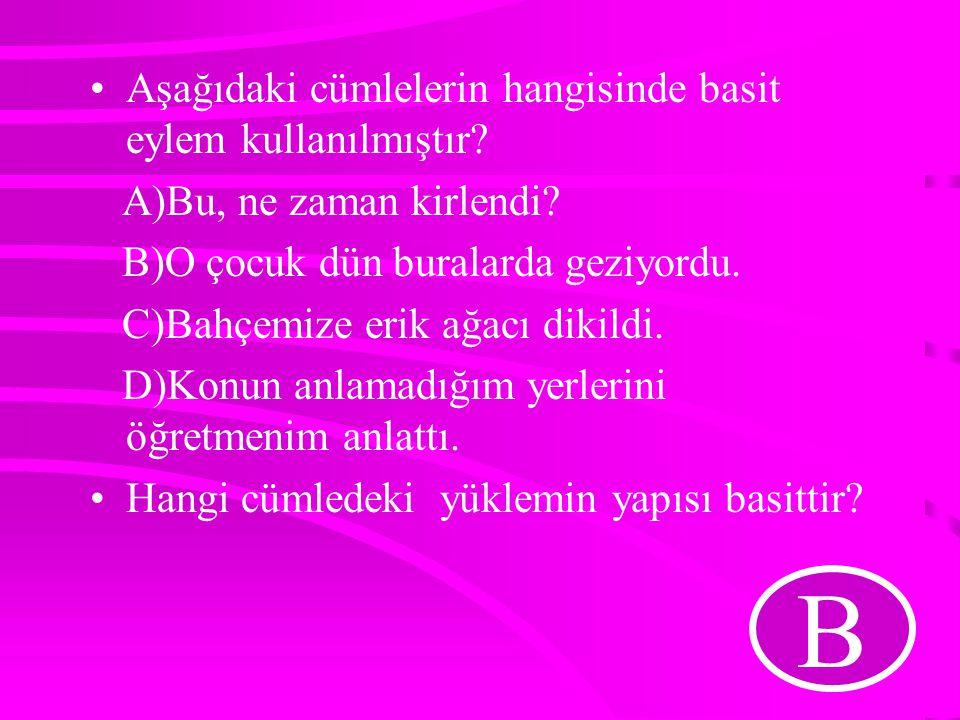 B Aşağıdaki cümlelerin hangisinde basit eylem kullanılmıştır